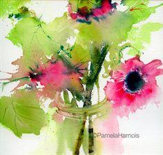 Original Watercolor Poppies painting