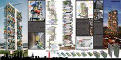 GA Designs Radical Shipping Container Skyscraper for Mumbai Slum,Final Board. Image Courtesy of GA Design Container Home Designs, Container Architecture, Green Architecture, Mumbai, Converted Shipping Containers, Temporary Housing, Social Housing, High Rise Building, Slums