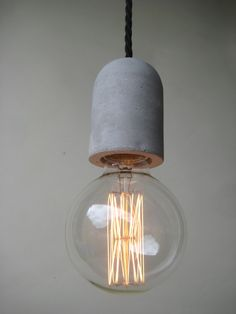 Plug In Concrete Pendant Light Make to Order with braided linen covered 3-core wire and a 3-pin side entry plug on the other end and a vintage Edison bulb.