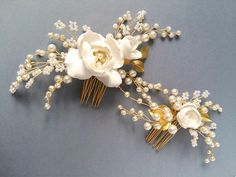 Ivory Gold Bridal hair comb Gold Bridal headpiece Bridal