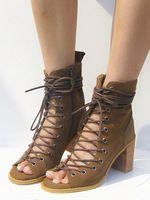 2015 натуральной кожи летняя обувь ботинес Mujer зашнуровать летние сапоги толстый каблук открытым носком ботинки женщин прохладный гладиатор загрузки сандалии