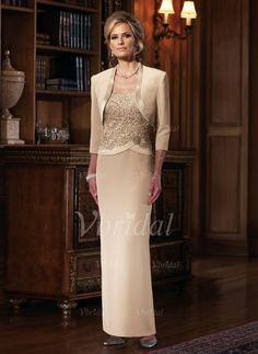 Kleider für die Brautmutter - $168.67 - Etui-Linie Rechteckiger Ausschnitt Bodenlang Chiffon Spitze Kleid für die Brautmutter mit Blumen (0085058335)