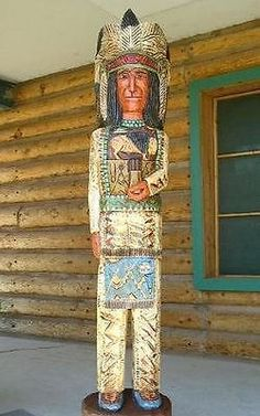 Traditionally dressed chief in headdress, six feet tall, hand carved Aspen wood southwest decor! Outdoor Sculpture, Wood Sculpture, Sculpture Ideas, Cigar Store Indian, Sculptures For Sale, Native American Indians, Nativity, Hand Carved