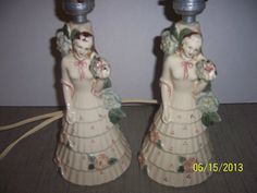 Porcelain Lady Lamps Antique Matching set by NAESBARGINBASEMENT, $40.00