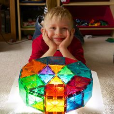 Magna-Tect Søren with his Magna-Tiles creation!