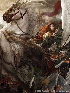 f Angel Paladin Plate Armor Wings Horseback barding battle eastern border story Dark Fantasy Art, Fantasy Girl, Fantasy Art Women, Fantasy Artwork, Fantasy Warrior, Angel Warrior, Fantasy Battle, Angel Art, Medieval Fantasy