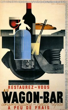 Wagon-Bar Poster 1932.  Cassandre pseudonym of Adolphe Jean-Marie Mouron (1901 – 1968) was a Ukrainian-French painter, commercial poster artist, & typeface designer. His creations for the Dubonnet wine company were among the first posters designed to be seen by occupants in moving vehicles & are memorable for their innovative graphic solutions. Cassandre developed Bifur in 1929, the sans serif Acier Noir in 1935, and in 1937 an all-purpose font called Peignot.