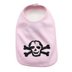 Black Scribble Skull Baby Bib in Color Light Pink