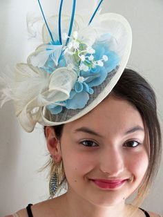 b66ce28f97255 Ivory fascinator hat Blue fascinator sky blue fascinator hat LILA ICEQUEEN