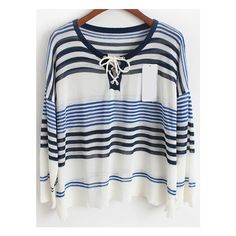 Striped Lace Up Blue Sweater ($15) ❤ liked on Polyvore