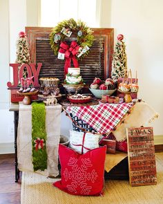 This Rustic & JOYful Christmas Party Dessert Table is exactly what I'm looking forward to as all the holiday feels start *snowing* in!A Sweet Touch by