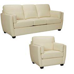 Sofaweb.com Hamilton Ivory Italian Leather Sofa and Chair
