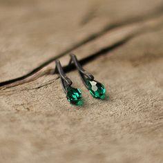 Emerald Green Swarovski Earrings Super Dainty Stud by Naryajewelry