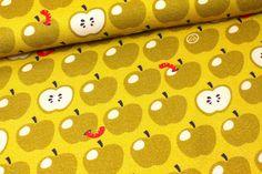 Stoff Obst & Gemüse - 2. Wahl - Viskose - Äpfel - Dunkelgelb- Nancy Kers - ein Designerstück von alles-fuer-selbermacher bei DaWanda