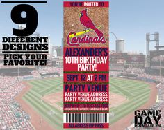 St Louis Cardinals Birthday Invitation by GamedayPrintable