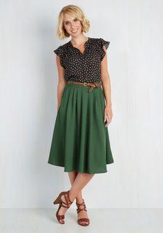 Breathtaking Tiger Lilies Skirt in Stem Green | Mod Retro Vintage Skirts | ModCloth.com