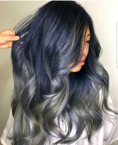 "5,813 Likes, 35 Comments - HairColor Blogger  LongHair (@imallaboutdahair) on Instagram: ""@kimwasabi slays it again with this metallic blue and gun metal grey """