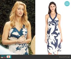 Petra's navy and white floral dress on Jane the Virgin.  Outfit Details: https://wornontv.net/66702/ #JanetheVirgin