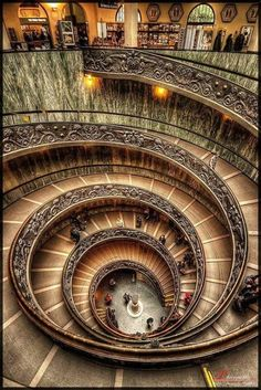 Stairs at The Vatican City Museum, Rome, Italy Beautiful Architecture, Beautiful Buildings, Art And Architecture, Beautiful Places, Beautiful Pictures, Le Vatican, The Places Youll Go, Places To Visit, Stairway To Heaven
