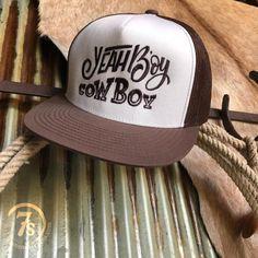"""acce23a0b6f84 Yeah Boy Cowboy Cap - """"Yeah Boy Cowboy"""" cap. Chocolate and white fun"""