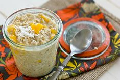 Overnight oatmeal in a jar is the easiest breakfast ever! This Coconut Mango Overnight Oatmeal Recipe is both delicious & healthy too.