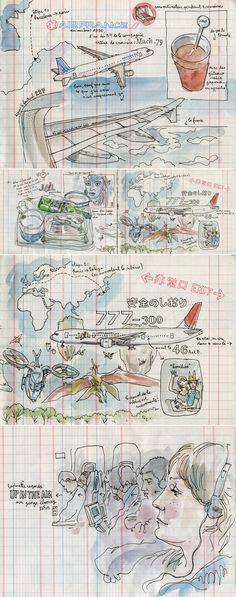 Sketches by Lapin: sketch travel journal. I need to practice drawing so that my travel journal can turn out like this. Voyage Sketchbook, Travel Sketchbook, Art Sketchbook, Journal Croquis, Sketch Journal, Journal Art, Art Journals, Journal Design, Watercolor Journal
