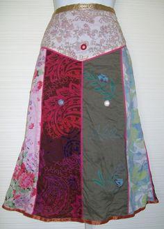 "Mitra Art to Wear 8 Small SKIRT 34"" W Hippie Gypsy Patchwork Panel A-Line #Mitra #ALine"