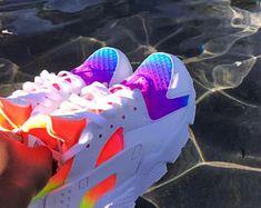 Custom Rainbow Neon Nike Huaraches Purple Pink Orange and Nike Huarache, Nike Air Huarache Ultra, Jordan Shoes Girls, Girls Shoes, Timberland, Nike Neon, Nike Air Shoes, Bleu Turquoise, Women Nike