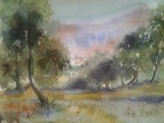 Pintar acuarelas: Por los olivos...