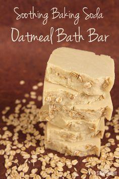 DIY Handmilled / Rebatched Soothing Baking Soda Oatmeal Bar Soap Recipe