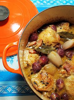 Le Creuset Guest Recipe Post ~ Chicken with Black Grapes and Marsala Sauce - made this and it was SO good. Except I discovered that I definitely don't like pancetta. -KY