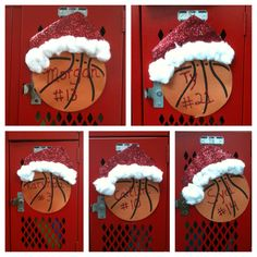 Santa hat locker decorations
