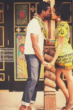 Its African inspired. Black Couples, Cute Couples, Power Couples, Black King And Queen, Ebony Love, Black Love Art, Engagement Photo Inspiration, Hair Inspiration