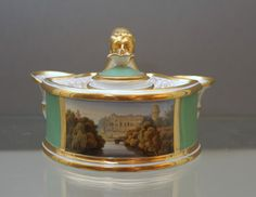 A Flight, Barr and Barr Worcester topographical inkstand c. 1825 England