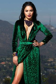 Vanessa Hudgens | velvet green Boheme dress // winter bohemian style gypsy vibes chic // fierce