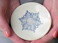 Ceramic Blue Snowflake Ring Dish Icy Round Plate by Ceraminic