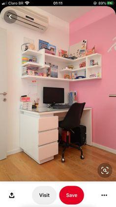 Study Room Decor, Cute Room Decor, Room Ideas Bedroom, Teen Room Decor, Small Room Bedroom, Home Office Decor, Bedroom Decor, Desk For Bedroom, Desk For Girls Room