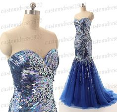 Mermaid formal women evening dress,long prom dress,handmade sequins tulle prom dress,sweetheart wedding party dress
