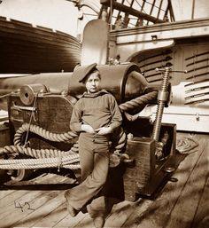 'Powder Monkey' on the USS New Hampshire (1864). [Powder monkeys were usually boys or young teens selected for the job for their speed and height — they were short and would be hidden behind the ship's gunwale.]