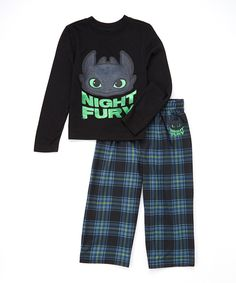 This Black & Blue 'Night Fury' Pajama Set - Toddler & Boys by How to Train Your Dragon is perfect! #zulilyfinds