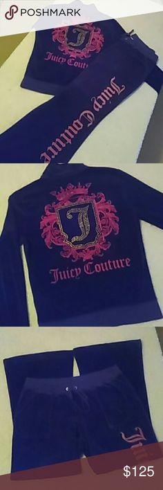 NWOT Juicy Couture Velour Track Suit Sz L/XL NWOT Juicy Couture Velour Track Suit Sz L/XL  Gorgeous comfy set - washed never worn Jacket (L) & Pants (XL) Juicy Couture Pants Track Pants & Joggers
