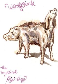 Sketch of Pigs with Dogs Cute Dog