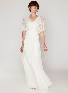 Wedding Dresses - $154.59 - A-Line/Princess V-neck Sweep Train Tulle Wedding Dress With Lace (0025119632)