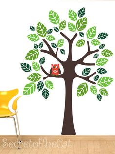 Nursery wall decal - tree decal - children decal - vinyl decal - owl decal. $85.00, via Etsy.