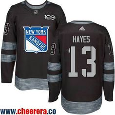 Men's New York Rangers #13 Kevin Hayes Black 100th Anniversary Stitched NHL 2017 adidas Hockey Jersey