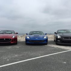 @barrasso brought his whips to the beach. Jaguar F-Type R x Nissan GTR x Corvette C7. Check out @barrasso and download his apps. Markbarrasso.com