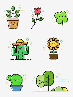 Cactus Ideas for Simple Kitchen Makeovers Article Body: Mini Drawings, Kawaii Drawings, Easy Drawings, Cactus Vector, Plant Vector, Doodles Kawaii, Griffonnages Kawaii, Easy Doodle Art, Doodle Art Journals