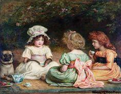Afternoon Tea, an 1889 oil on canvas by 19th-century Englishman John Everett Millais