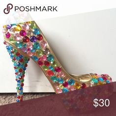 Gold Bejeweled Pumps These shoes looks sooooo much cuter in person. They were only worn one time for less than 8 hours are look so super amazing on your feet. They go with many outfits and will definitely make you stand out.  Shiekh Shoes Heels