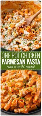 ONE POT CHICKEN PARMESAN PASTA - Foody Food